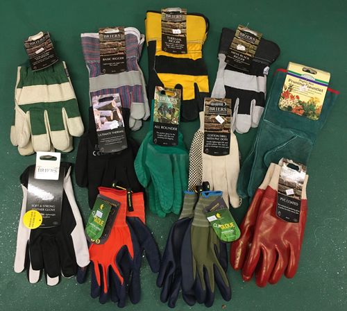 selection of garden gloves