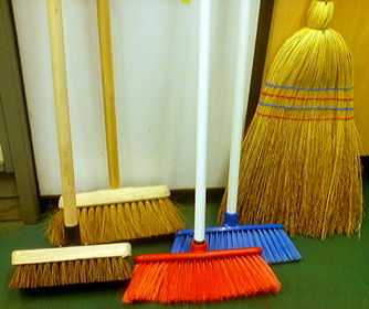 wooden broom for garden