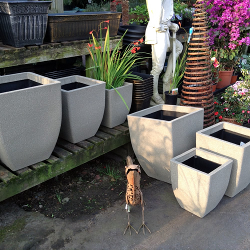 rectangle garden pots anlex garden centre, all different sizes and colors