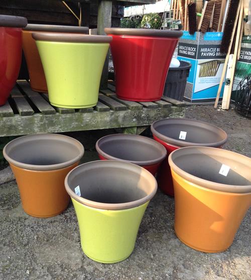 red and orange garden pots anlex garden centre, all different colors