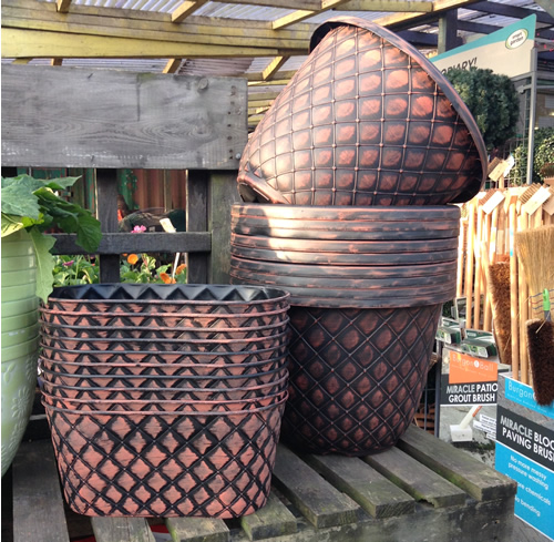 round pattern garden pots anlex garden centre, all different colors