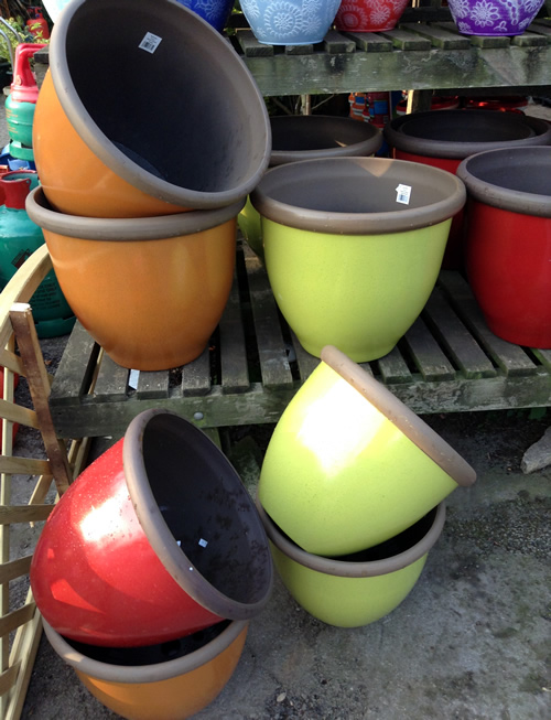 lime green round garden pots anlex garden centre, all different colors