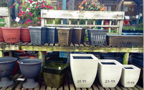 square garden pots anlex garden centre, all different colors