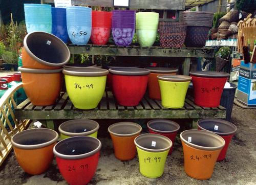 garden pots anlex garden centre, all different colours