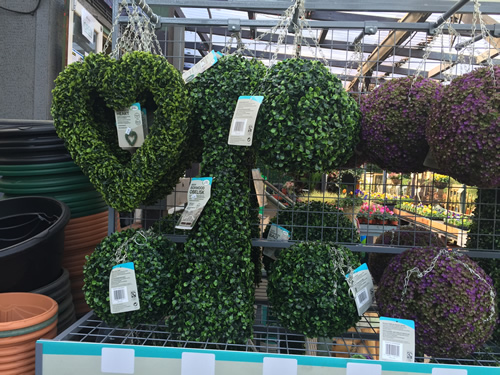 artificial topiary in different colours